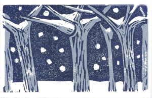 Snow Trees, linoprint by Jacqueline Perry