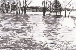The Rock River flows over its bank today in Moline, IL 04-19-13. Marker on paper by Jacqueline Perry.