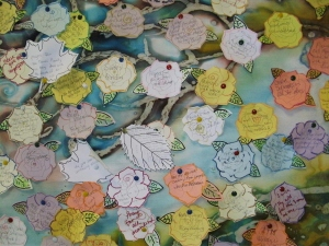 Detail of the prayer tree board located near Ascension Chapel at Augustana College, Rock Island, Illinois.